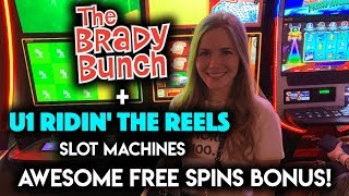 The Brady Bunch Respins + Riding the Reels Slot Machine GOLDEN Free Spins! NICE WIN!!