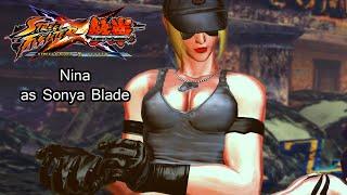 Nina As Sonya Blade from Mortal Kombat - Street Fighter X Tekken