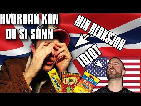 Norwegian guy reacting to American guys tasting Norwegian candy