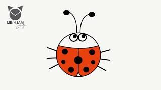 5 bước vẽ con bọ rùa (bọ cánh cam)