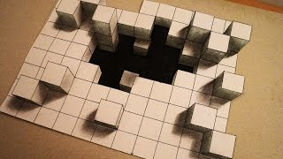 How to draw -  deep hole from 3d cubes - one point perspective - Optical illusion