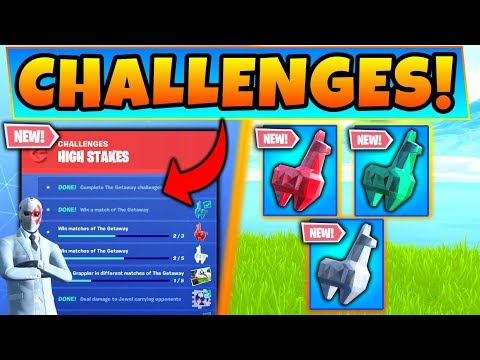 Fortnite HIGH STAKES CHALLENGES v2 GUIDE! - NEW Crystal Llama Rewards! (Battle Royale Update) thumbnail