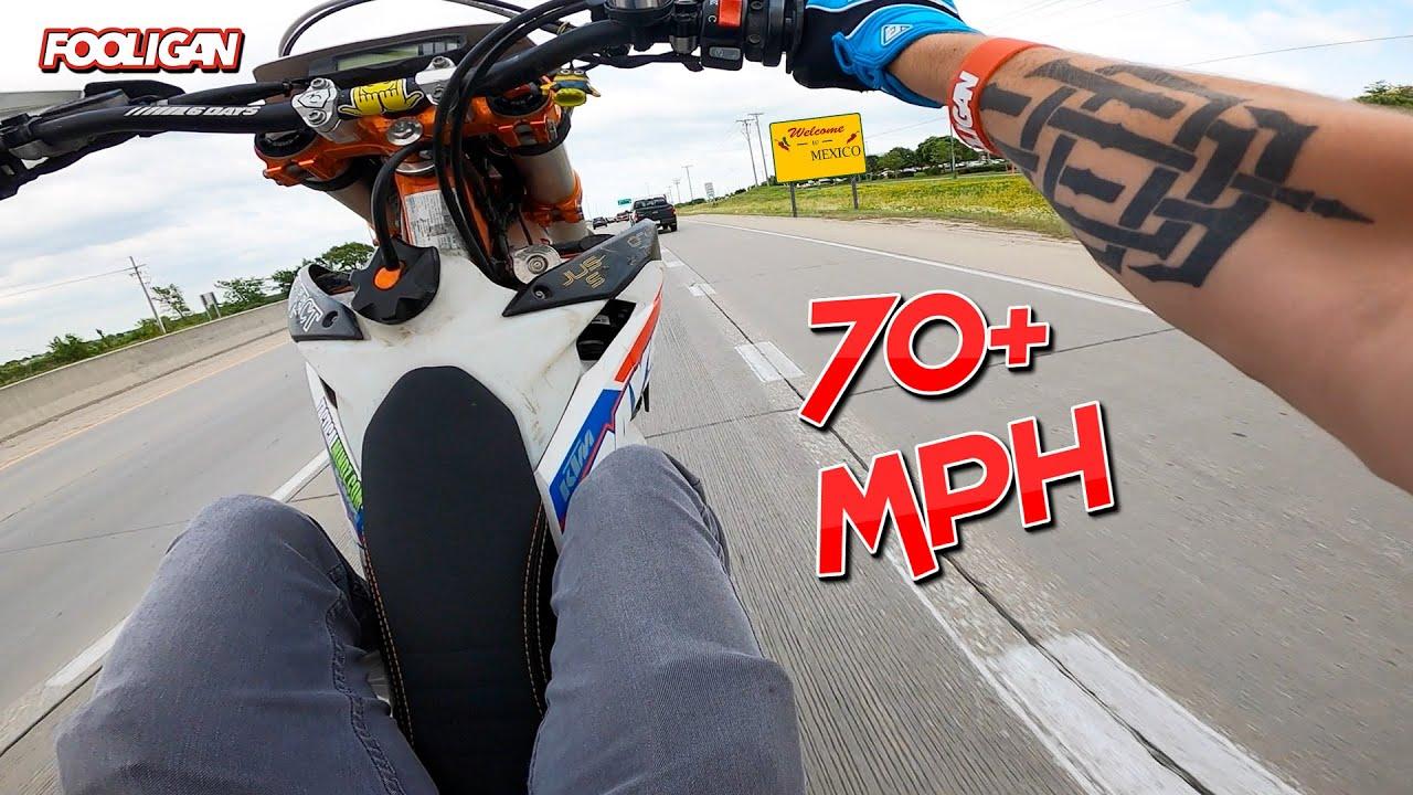 Highway Wheelie Merge on 500cc Supermoto (NASTY)