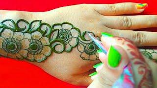Simple & easy back hand henna design (मेहंदी डिजाइन) ll  New stylish back hand mehndi design ll