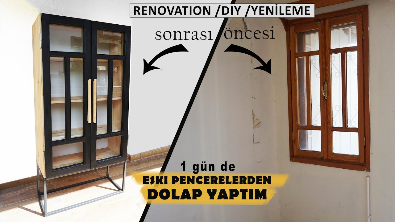 DIY home decor   Yeni Evin ilk Mobilyasını PENCEREDEN YAPTIM   KENDİN YAP Tuğçe Sarıcaoğlu