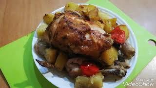 Курица запечённая с картошкой и перцем болгарским в рукаве