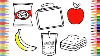 How to Draw Lunch Box Set | Coloring Kit: Crisps, Banana, Apple, Sandwich, Lunchbox and Juice Drink