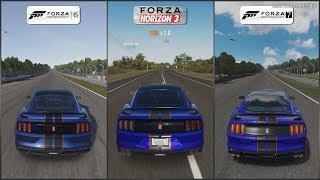 Forza 6 vs Forza Horizon 3 vs Forza 7 - 2016 Ford Shelby GT350R Sound Comparison