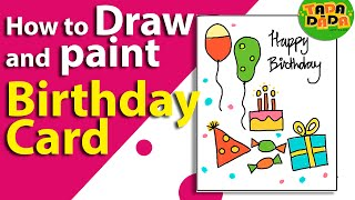 birthday drawing greeting wishes easy card cards drawings happy paintingvalley