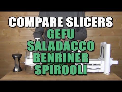 4 Slicers Compared Gefu, Spiral Slicer, Spirooli, & Benriner Product Overview & Demonstration