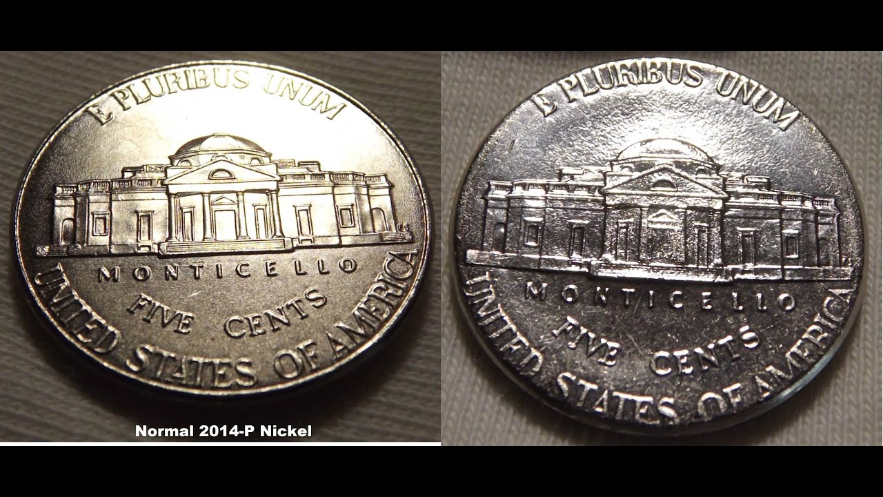 2014-P Jefferson Nickel Design Creep Error next to regular Nickel