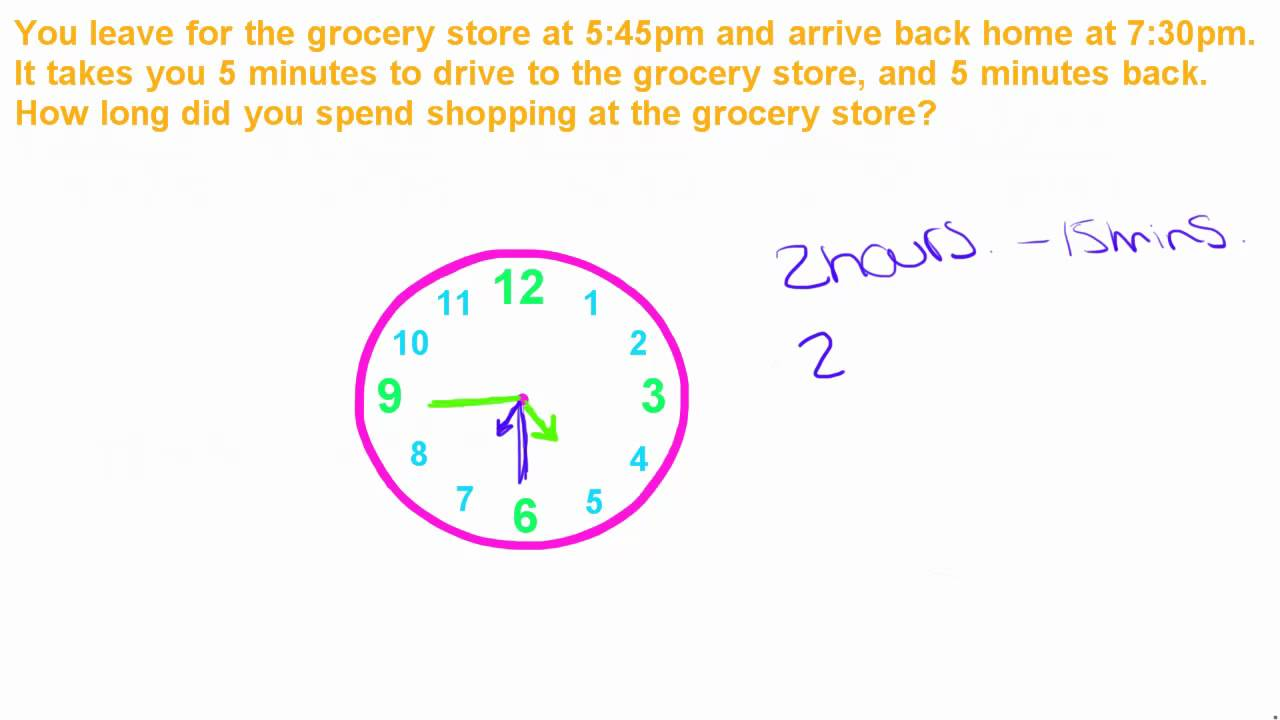 Basic Math Tutorial - 11 - Word Problems with Time - YouTube
