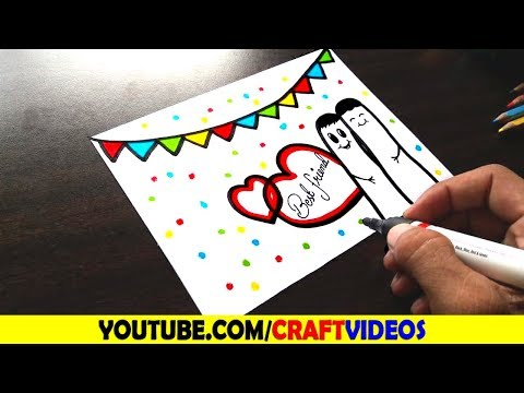 FRIENDSHIP DAY CARD DRAWING, HOW TO DRAW FRIENDSHIP DAY CARD, DRAW FRIENDSHIP DAY CARD Speed Drawing
