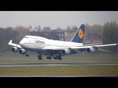 RARE!! Lufthansa Boeing 747-400 [D-ABTL] Crosswind Landing at Berlin Tegel Airport [Full HD]