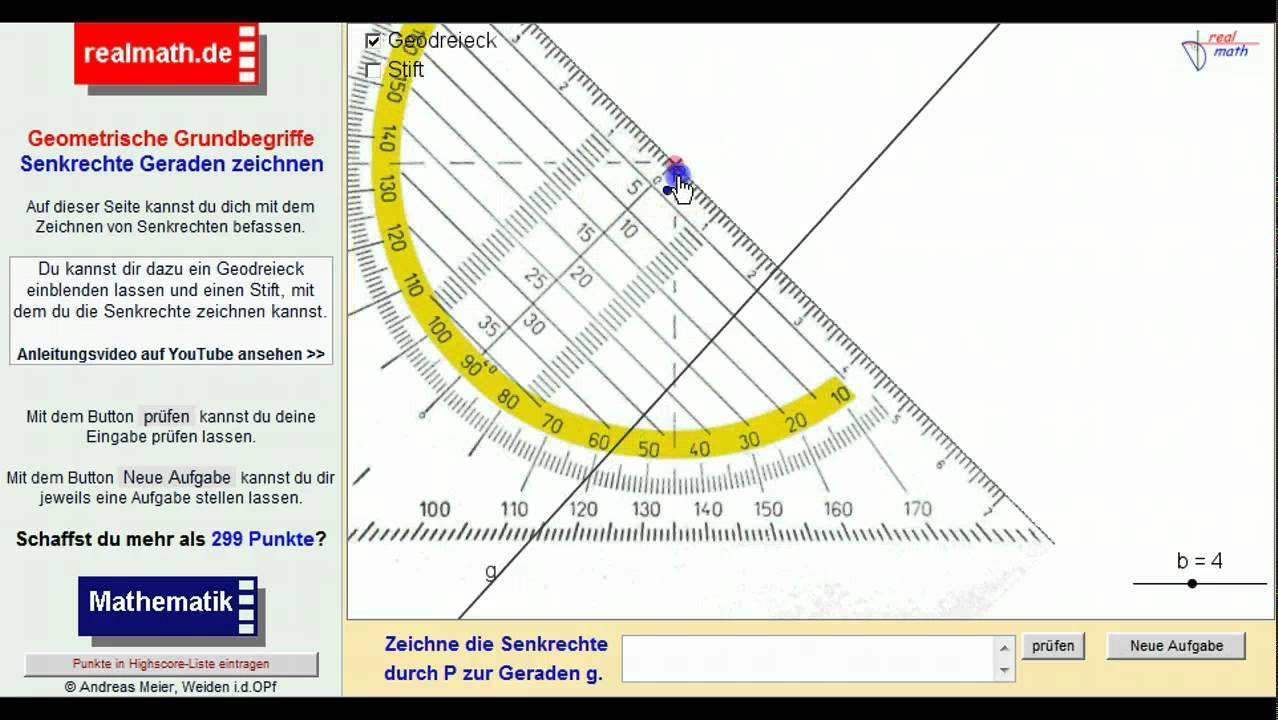 Senkrechte Geraden mit einem Geodreieck zeichnen - realmath.de - YouTube