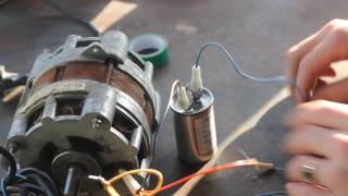 видео Как подключить двигатель через конденсатор