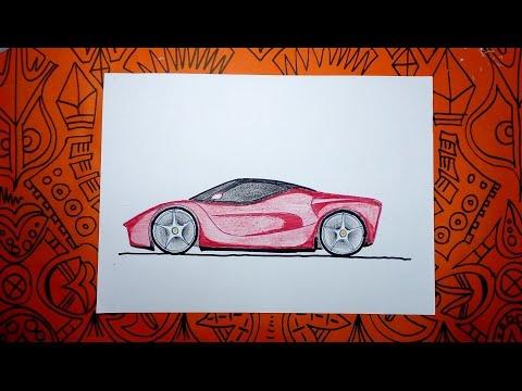 Cómo dibujar un auto Ferrari - Pasos Sencillos