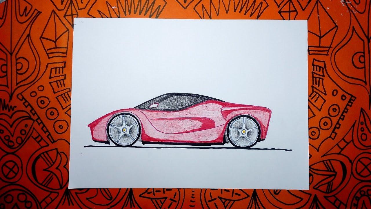 Cómo dibujar un auto Ferrari - Pasos Sencillos - YouTube