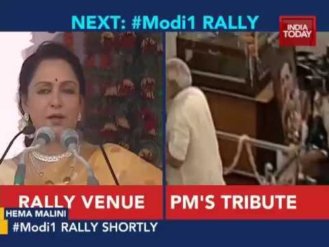 Hema Malini welcomes PM Modi in Mathura