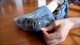 牛仔褲改造成萬用袋
