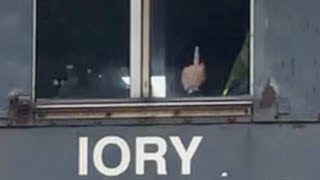 Railroad Conductor Flips Off Railfan!