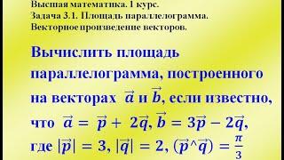 Задача 3.1. Площадь параллелограмма. Векторное произведение.  Высшая математика.