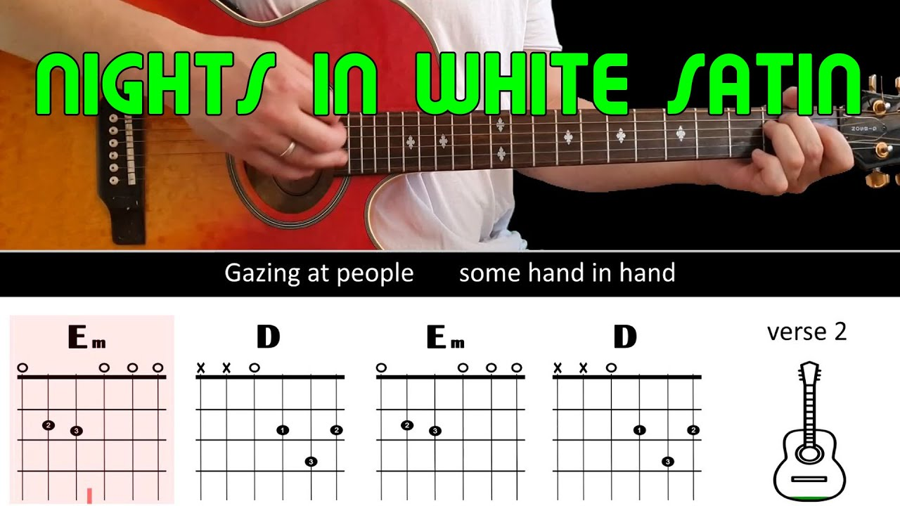 NIGHTS IN WHITE SATIN   The Moody Blues   Guitar lesson   Acoustic guitar  with chords & lyrics