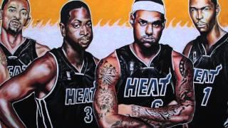 Miami Heat 2012 Champions Graffiti - Lebron James, Dwayne Wade, Chris Bosh - by