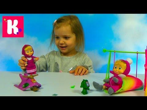 Видео: Маша и Медведь на игровой площадке с качелей и горкой  Обзор игрушек