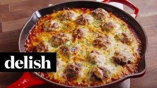 Chicken Parm Meatball Skillet | Delish