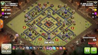 Clash Of Clans - 3 Starring A Ring Base | TH10 | War Attack | Laloon + AQ Walk