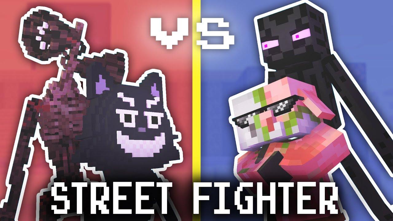 Monster School: STREET FIGHTER CHALLENGE! VS SIREN HEAD & CARTOON CAT - Minecraft Animation