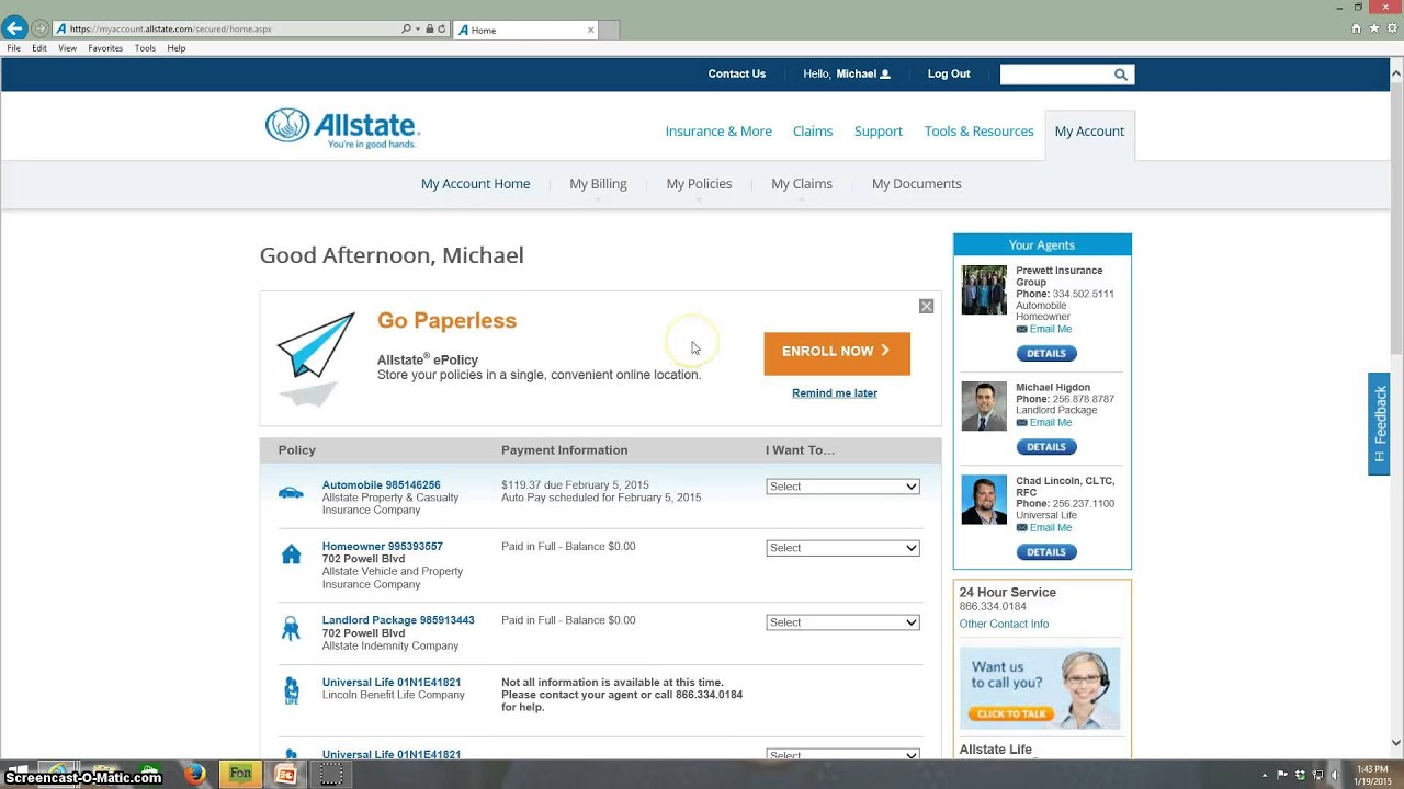 Allstate My Account >> Welcome And My Account