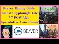 Beaver Mining Guide - Latest Cryptonight Lite V7 POW Algo - Speculative Coin Mining