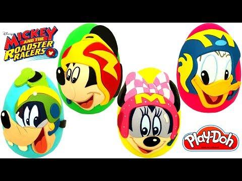 4 Huevos Sorpresa de Mickey Aventuras Sobre Ruedas Mickey Minnie Goofy Donald de Plastilina Play Doh