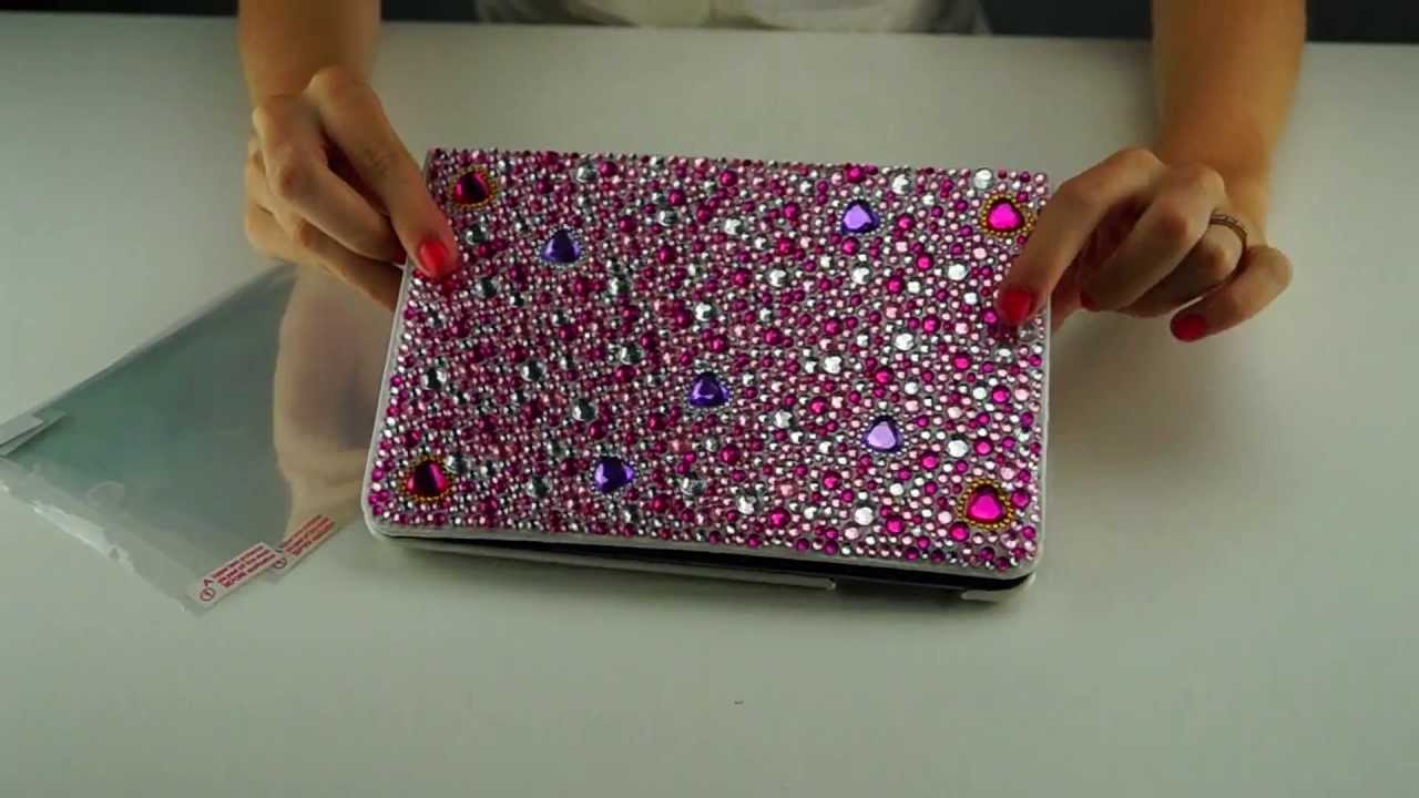 Eco Fused Pink Bling And White Leather Case For The Ipad