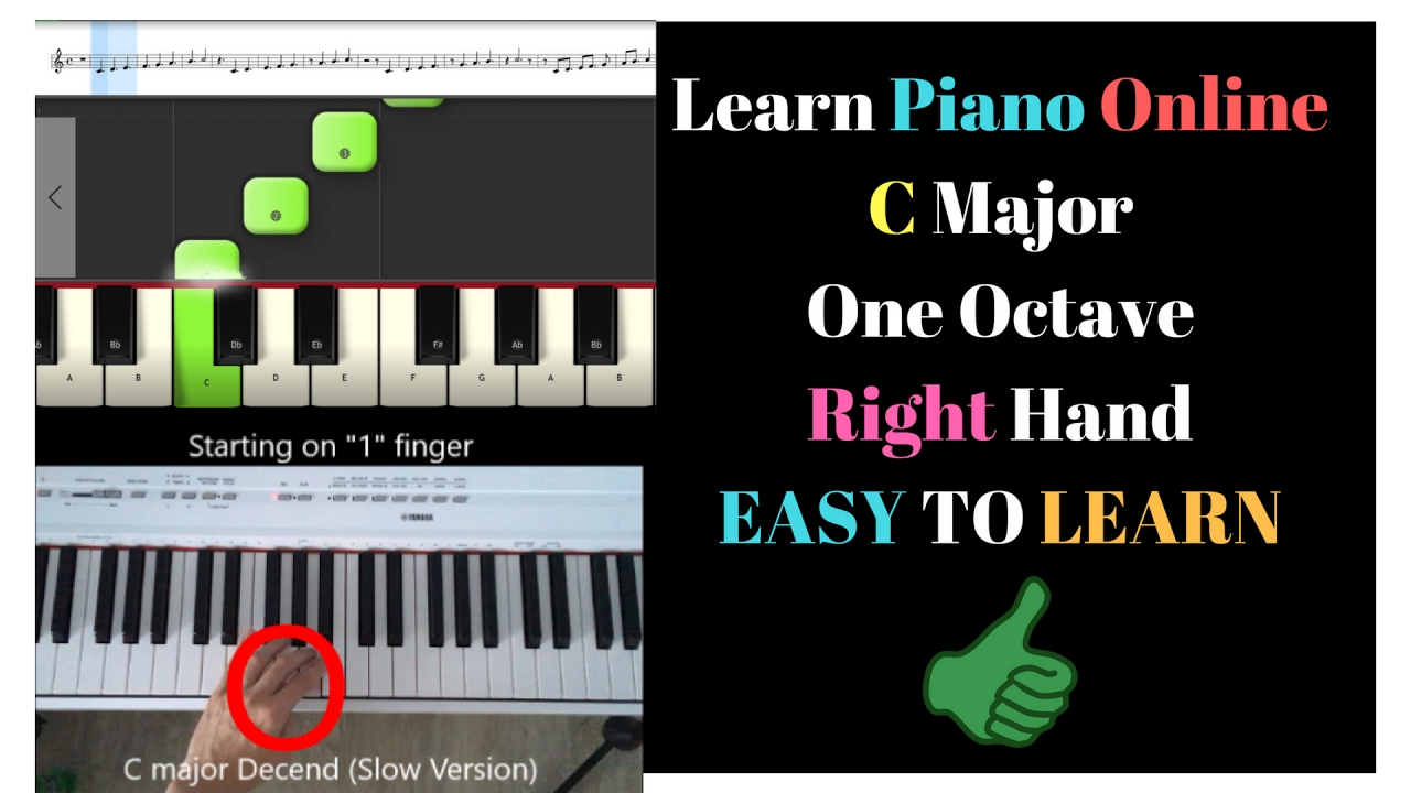 Learn Piano Online C Major Scale Left Hand SUPER EASY ...