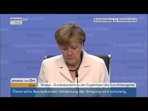 EU-Sondergipfel: Angela Merkel zu den Ergebnissen am 13.07.2015