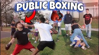 PUT THE GLOVES ON! 🥊PUBLIC BOXING (INTENSE K.O)