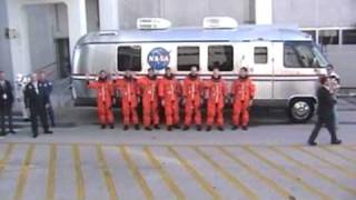 STS-126 Shuttle Endeavour - Astronauts board the astrovan for ride to launch pad
