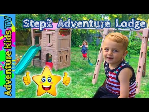 Review Step2 Naturally Playful Adventure Lodge Play Center Glider Swing Set  | Adventure Kids TV