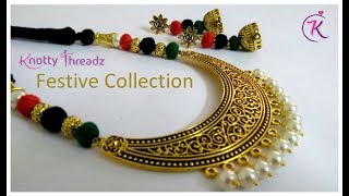 How to Make Antique Necklace and Jhumkas Set at Home | Festive Collection | www.knottythreadz.com