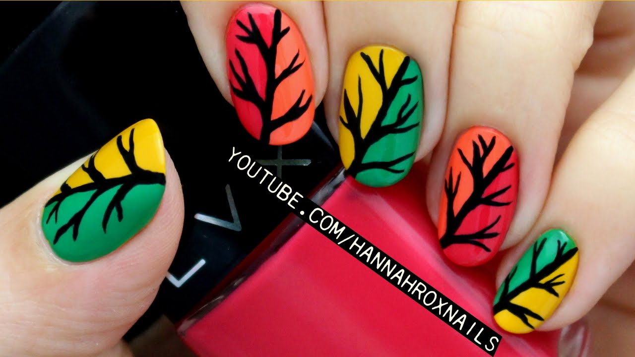 Autumn Tree Nail Art - YouTube