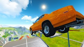 WHICH DRAG CAR CAN FLY THE FURTHEST ON CAR JUMP ARENA? - BeamNG Drive Challenge!