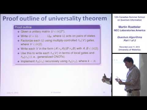 Martin Roetteler - Quantum Algorithms (Part 1) - CSSQI 2012