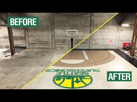 Custom Seattle Supersonics Basketball Court Using Concrete Overlay   How To Video