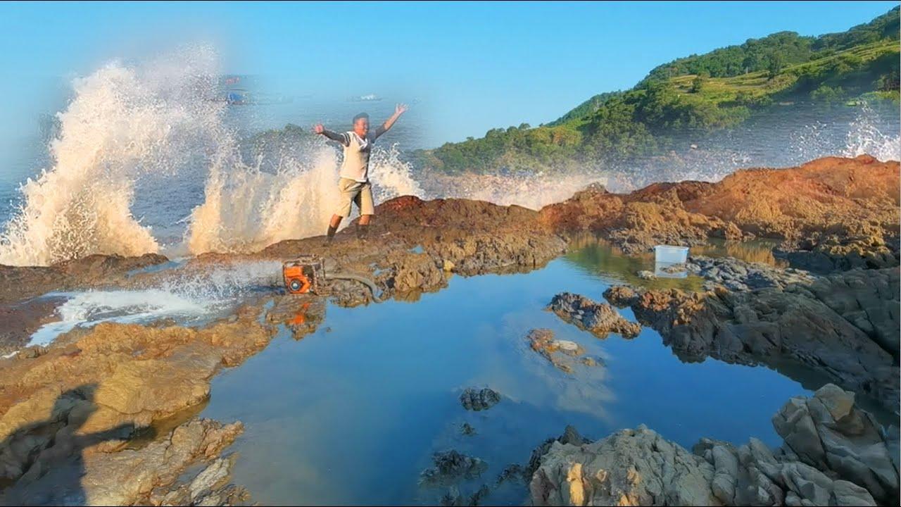 【小郭赶海】巨浪汹涌鱼群躲进水坑避浪,33米长坑野货却十分惊人,一条就赚几百