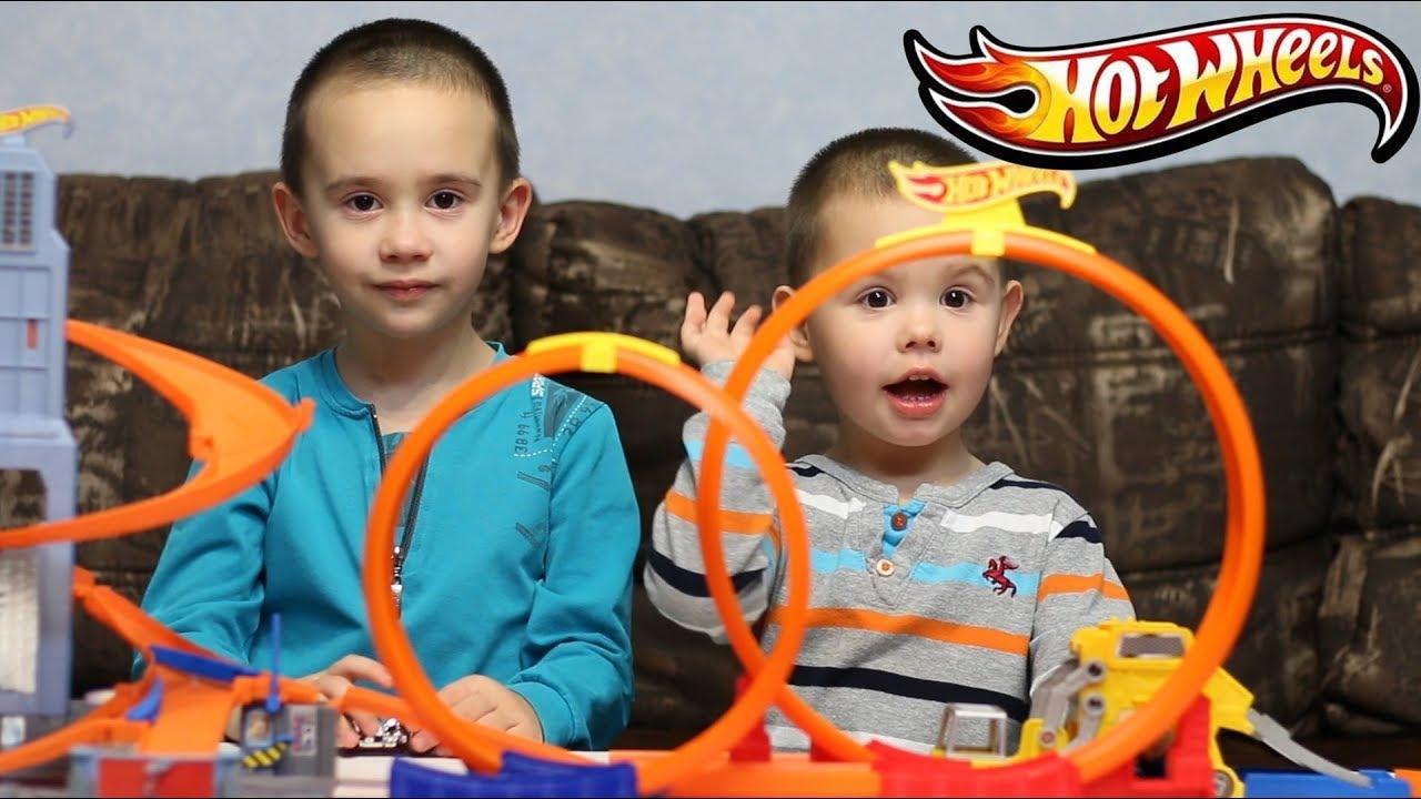 Мототрек Хот Вилс - Опасная Двойная Петля и подъемник. Hot Wheels игрушки.