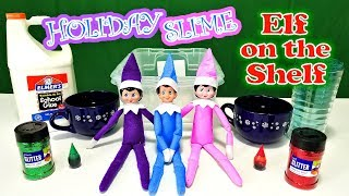 Purple & Pink Elf on the Shelf - Blue Elf Brings Red & Green DIY Holiday Slime! Day 13