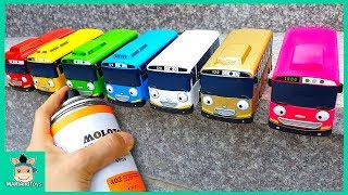 Tayo the Little Bus Change Learn Colors With Rainbow Paint Job, Nursery Rhymes Song | MariAndToys